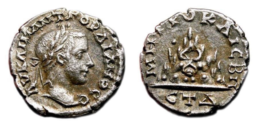 Ancient Coins - GORDIAN III AR Drachm. VF+/EF-. Caesarea mint. ETDelta - Mount Argaeus. NICE and SCARCE!