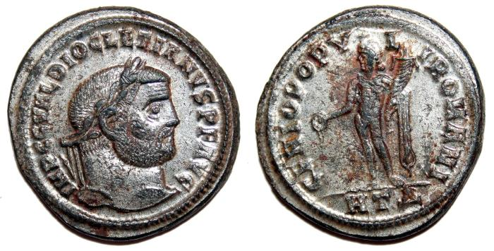 Ancient Coins - DIOCLETIAN Bi Follis. EF/EF-. SILVERED. Heraclea mint. GENIO POPVLI ROMANI. Superb!