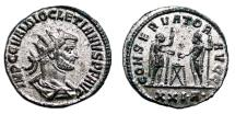 Ancient Coins - DIOCLETIAN Bi Antoninian. EF. Fully Silvered. Siscia mint. CONSERVATOR AVGG.