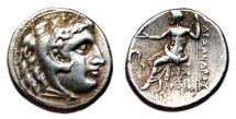 Ancient Coins - ALEXANDER III the Great AR Drachm. EF-/VF+. Miletos mint. Zeus.