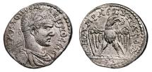 Ancient Coins - MACRINUS AR Tetradrachm. EF/EF-. Cyrrhus mint. Eagle over thyrsos. VERY RARE!