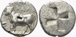 Ancient Coins - Kalchedon (Bithynia) AR Drachm. VF+. Bull - Incuse Square