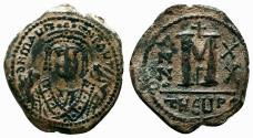 Ancient Coins - MAURICE TIBERIUS AE Follis. EF-/VF+. Antioch mint. Year 20.