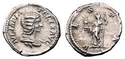 Ancient Coins - JULIA DOMNA AR Denarius. EF-. VESTA. Issue minted during Caracalla´s reign.