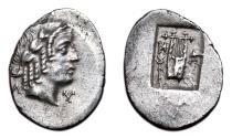 Ancient Coins - MASIKYTES (Lycian League) AR Hemidrachm. EF. Apollo - Caduceus/Lyre.