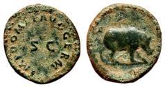 Ancient Coins - DOMITIAN AE Quadrans. VF+. Rhinoceros. SCARCE TYPE