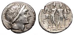Ancient Coins - L. MEMMIUS AR Denarius. VF+/EF-. The Dioscuri - L. MEMMI.