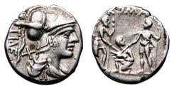 Ancient Coins - Ti. Veturius AR Denarius. EF/EF-. Mars - Warriors/Priest.