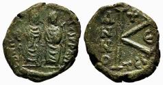 Ancient Coins - JUSTIN II and SOPHIA AE Half-Follis. VF+/EF-. Thessalonica. Year 5.