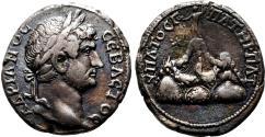 Ancient Coins - HADRIAN AR Didrachm. Caesarea of Cappadocia. EF-. Mount Argaeus.