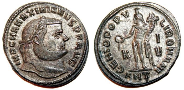 Ancient Coins - MAXIMIANUS HERCULIUS Bi Follis. EF+. SILVERED. Antioch mint. SUPERB COIN!!!
