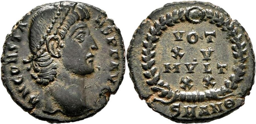 Ancient Coins - CONSTANS AE3 (Centenonial). EF/EF+. Antioch mint. VOT XV MVLT XX.