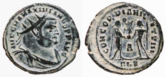 Ancient Coins - MAXIMIANUS HERCULIUS Æ Post-Reform Radiate Fraction. EF-/VF+. Alexandria mint. CONCORDIA MILITVM.