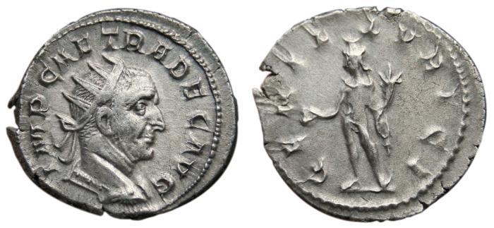 Ancient Coins - TRAJAN DECIUS AR Antoninianus. EF/EF-. GEN ILLVRICI (3,9 g) Scarce Variant!