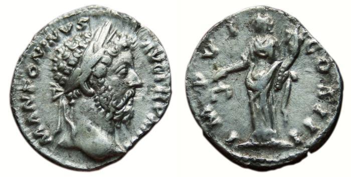 Ancient Coins - MARCUS AURELIUS AR Denarius. EF-/VF+. Aequitas - IMP VI COS III.