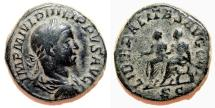 Ancient Coins - PHILIP II Æ Sestertius. VF. Philip I and II - LIBERALITAS AVGG III. Scarce Reverse!