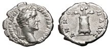 Ancient Coins - ANTONINUS PIUS AR Denarius. EF-/VF+. ANNONA AVG. Variant with two Poppies and two corn ears.