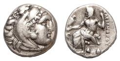 Ancient Coins - ALEXANDER III the Great AR Drachm. EF-/VF+. Lampsakos mint. Zeus.