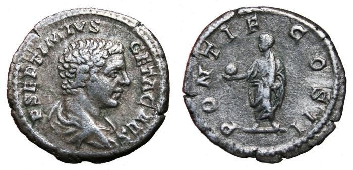 Ancient Coins - GETA AR Denarius. VF+. PONTIF COS II. Young Bust.