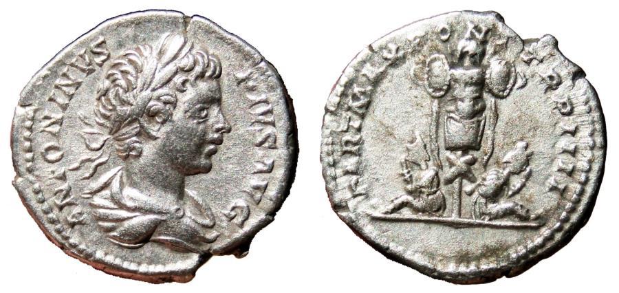 Ancient Coins - CARACALLA (as a child) AR Denarius. EF-/VF+. Persians captives and Trophy.