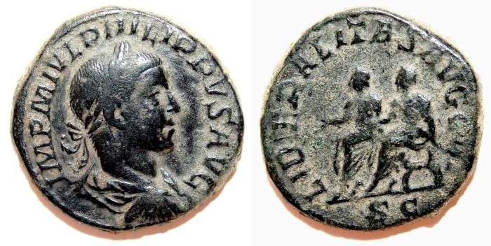 Ancient Coins - PHILIP II Æ Sestertius. VF. Philip I and II - LIBERALITAS AVGG III. Scarce Reverse!