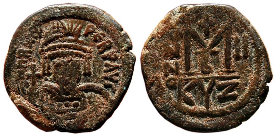 Ancient Coins - HERACLIUS AE Follis. VF+/EF-. Cyzicus mint. Year 2 - AD 611-612.