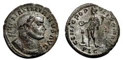 Ancient Coins - MAXIMIANUS HERCULIUS Bi Follis. EF/EF-. SILVERED. Lugdunum. GENIO POPVLI ROMANI.