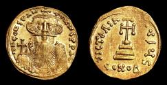 Ancient Coins - CONSTANS II AU Solidus. EF+/EF. Cross - VICTORIA AVG. Quality!