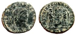 Ancient Coins - DECENTIUS AE2 (Maiorina). VF+/EF-. Arelate mint. Two Victories.