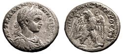 Ancient Coins - ELAGABALUS AR Tetradrachm. VF+. Antioch mint. Eagle to left. Very scarce type of bust in obverse.
