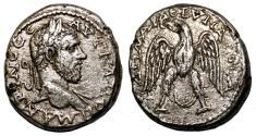 Ancient Coins - MACRINUS AR Tetradrachm. VF+. Arados mint. Eagle - Large Crescent.