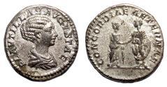 Ancient Coins - PLAUTILLA AR Denarius. VF+. CONCORDIAE AETERNAE.