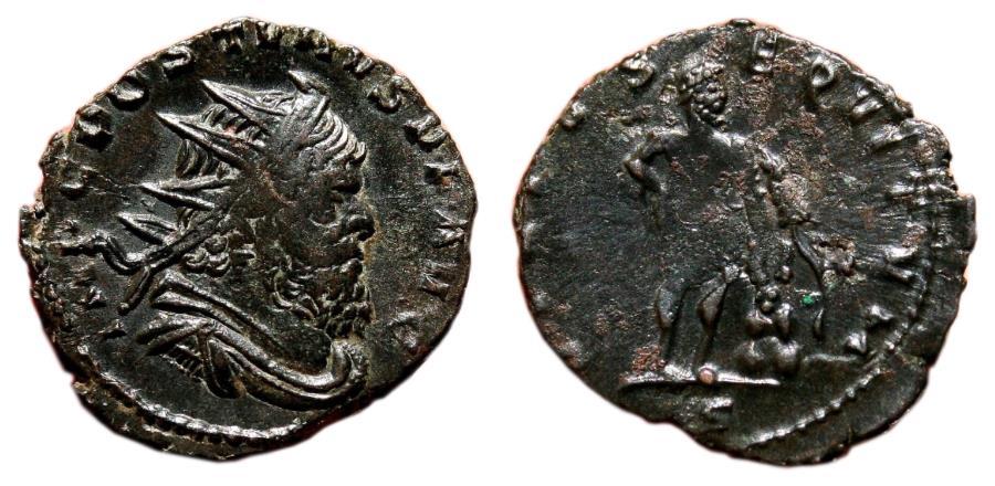 Ancient Coins - AUREOLUS AE Antoninianus. EF/VF+. Milan mint. VIRTVS EQVITVM. In the name of Postumus.
