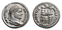 Ancient Coins - MAXIMIANUS HERCULIUS AR Argenteus. EF+/EF. Siscia mint. Four Tetrarchs - VIRTVS MILITVM. Scarce and Excellent!