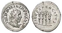 Ancient Coins - PHILIP I the Arab AR Antoninianus. EF/EF-. Legionary Standards - FIDES EXERCITVS. Scarce reverse.