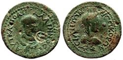 Ancient Coins - SIDE (Pamphylia) AE33. Gallienus. VF+. Countermark. Tyche. LARGE COIN!