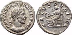 Ancient Coins - MACRINUS AR Denarius. EF/EF-. SALVS PVBLICA.