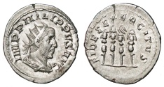Ancient Coins - PHILIP I the Arab AR Antoninianus. EF/EF-. Legionary Standards - FIDES EXERCITVS. Scarce reverse.