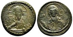 Ancient Coins - Anonymous (attributed to Romanus IV) Follis. VF+/EF-. Constantinople. Christ and Virgin Mary.