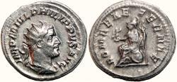 Ancient Coins - PHILIP I the Arab AR Antoninianus. EF-. ROMAE AETERNAE. Precious coin.