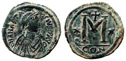 Ancient Coins - ANASTASIUS I AE Follis. EF/EF-. Constantinopolis mint. 1st Officina.