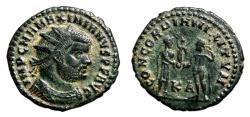 Ancient Coins - MAXIMIANUS HERCULIUS Æ Post-Reform Radiate Fraction. EF/EF-. Cyzicus mint. CONCORDIA MILITVM.