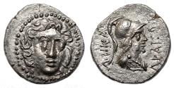 Ancient Coins - HALIKARNASSOS (Karia) AR Drachm. EF. Ca. 150-50 BC. Helios-Athena.