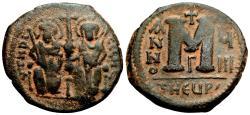 Ancient Coins - JUSTIN II AE Follis. VF+. Empress Sophia in obverse. Year 8. Antioch mint.