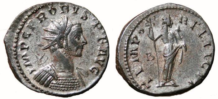 Ancient Coins - PROBUS Bi Antoninianus. EF-. SILVERED. Lugdunum mint. TEMPOR FELICIT