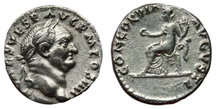 Ancient Coins - VESPASIAN AR Denarius. EF-. CONCORDIA AVGVSTI