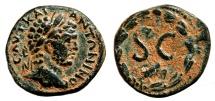 Ancient Coins - CARACALLA AE22. VF+. Antioch mint. SC - Wreath.