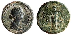 Ancient Coins - FAUSTINA II (Minor) Æ Sestertius. VF. LAETITIA S-C. Complete details.