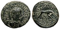 Ancient Coins - ANTIOCH (Pisidia) AE30. Gallienus. EF-. She-Wolf and gemels Romulus and Remus.