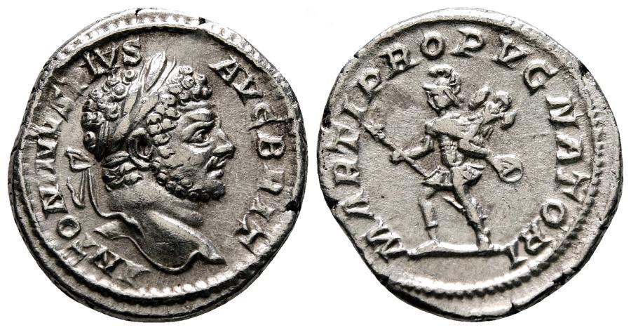 Ancient Coins - CARACALLA AR Denarius. EF/EF-. MARTI PROPVGNATORI.